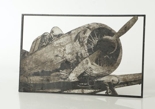 Décoration murale métal cockpit avion