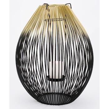 Lanterne filaire obus métal noir et doré 27 cm