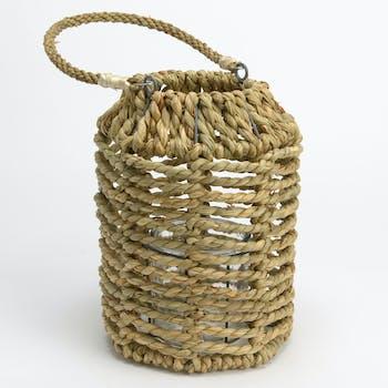 Lanterne en corde naturelle H26cm