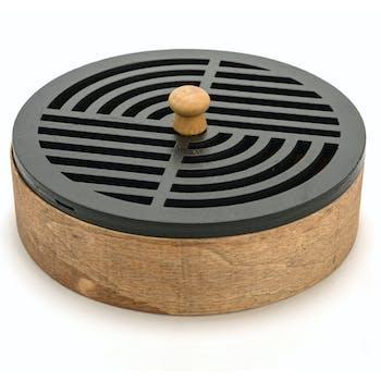 Boite ronde en bois sculpté stries D19cm