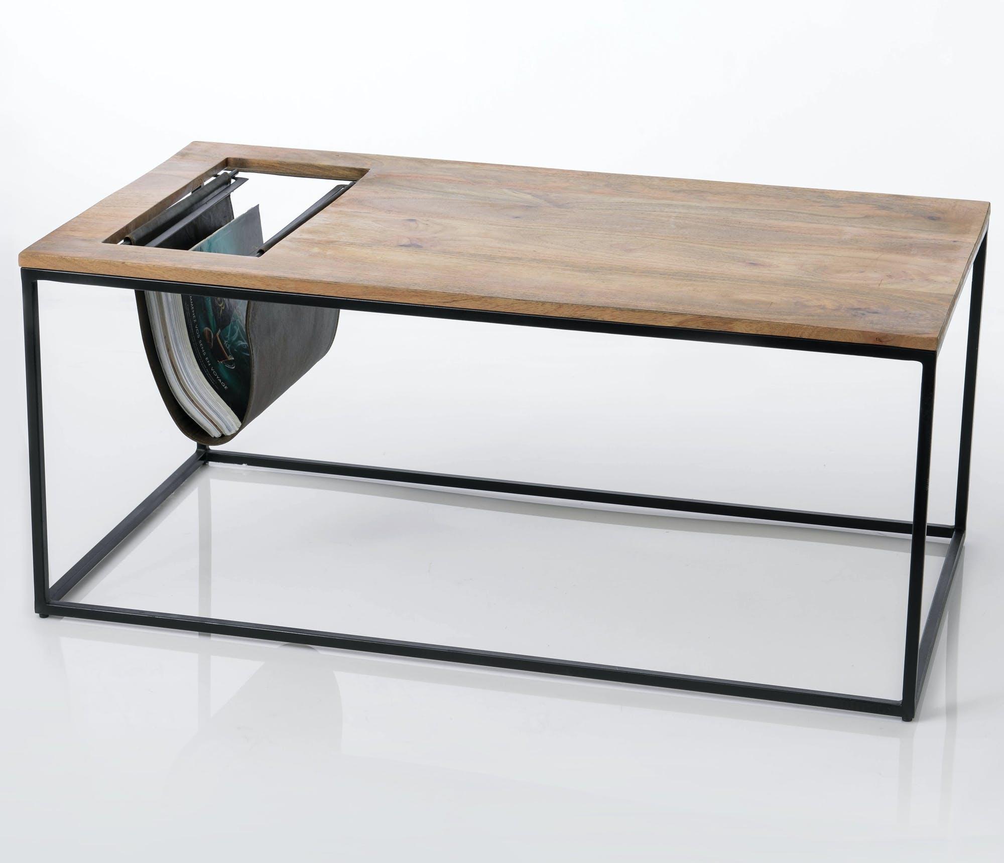 Table basse avec range-journaux en cuir