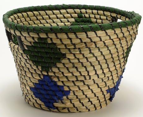 Panier déco motifs ethniques bleu vert