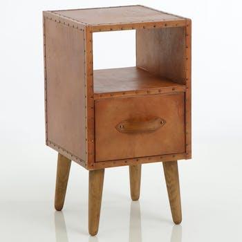 Table de chevet revêtement cuir