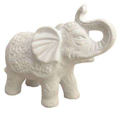 Eléphant qui barrit en céramique blanche effet vieilli H12,5cm