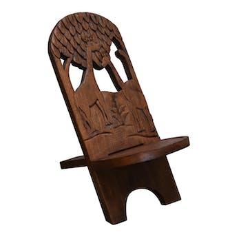 Chaise à palabre bois sculptée Girafe 72CM