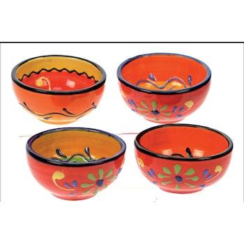 Lot de 4 minis bols inspiration orientale céramique colorée avec motifs floraux D7,8cm