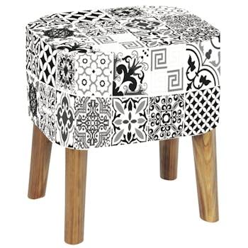 Tabouret Pouf PU blanc et noir à carreaux de motifs arabesques et pieds bois 39x31x42cm