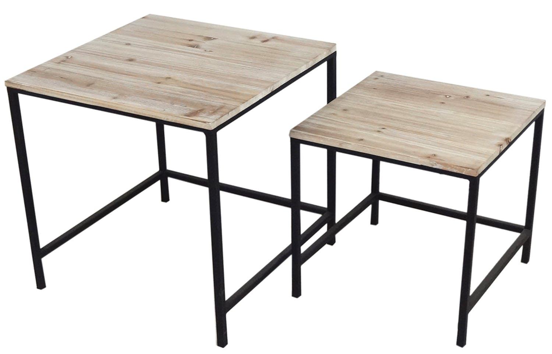 Lot de 2 tables d'appoint / Bout de canapé bois naturel et piètement métal 50x50x50/57cm LALI
