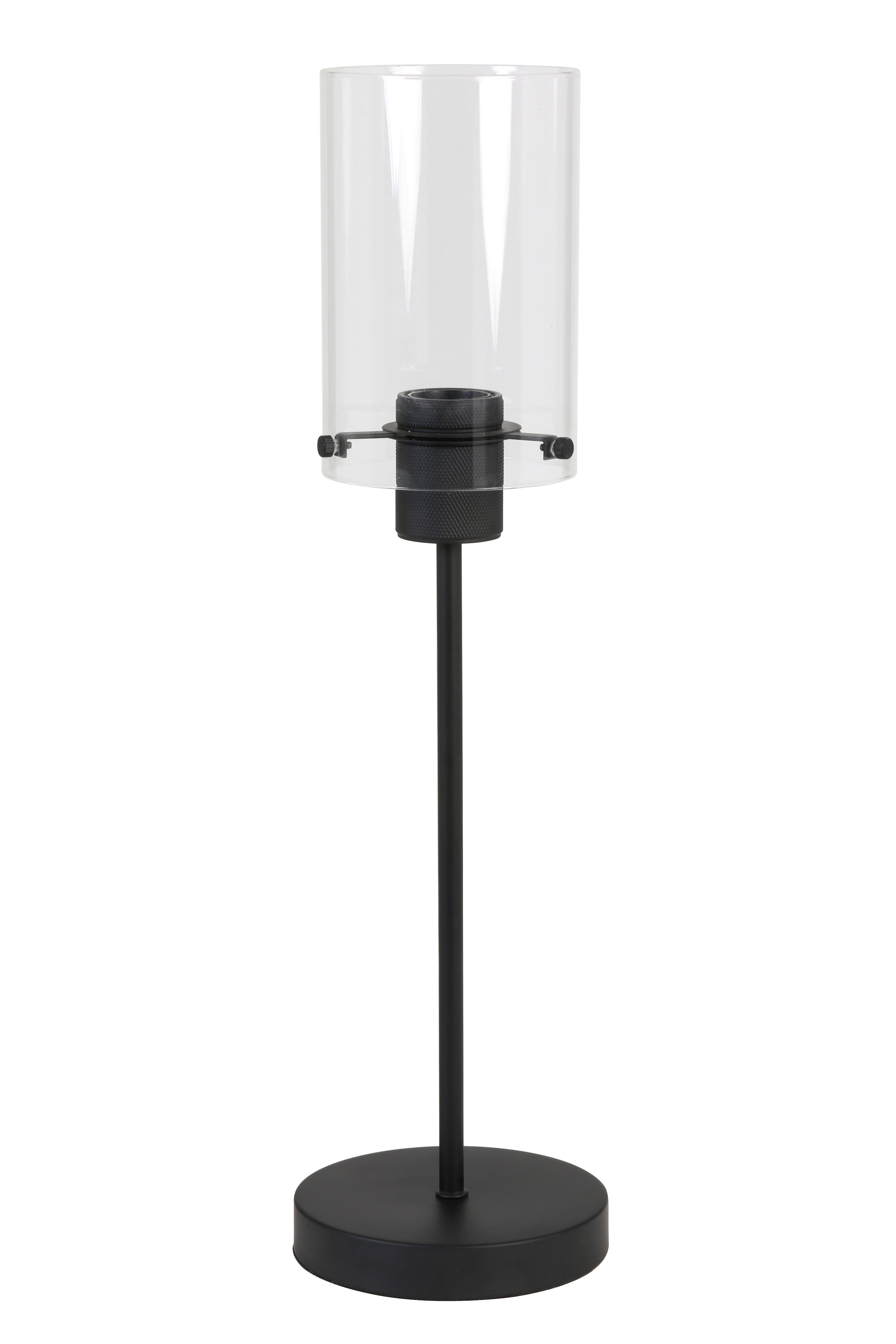 Lampe à poser contemporaine métal noir mat verre
