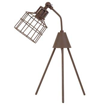 Lampe trépied industrielle couleur rouille