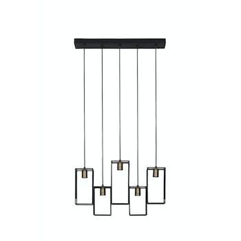 Suspension moderne 5 lampes métal noir mat