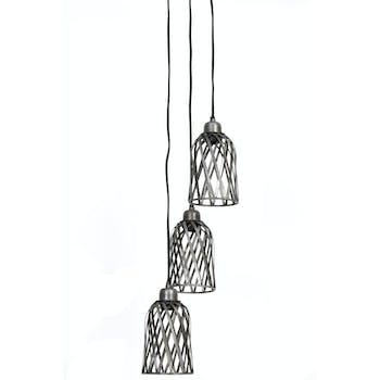 Suspension 3 lampes zinc antique