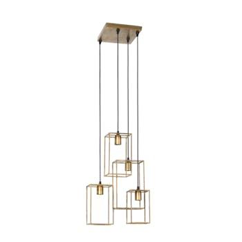 Suspension 4 lampes métal doré antique