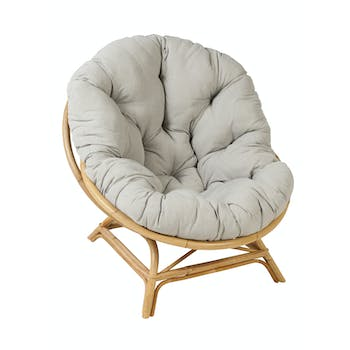 Fauteuil rotin Coquille XXL coussin tissu ref. 30020916