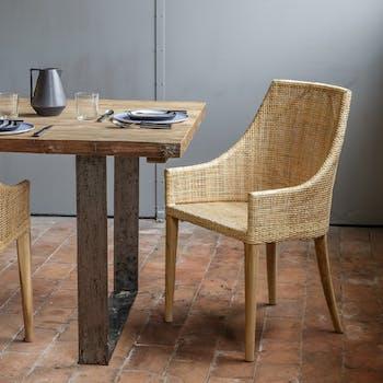 Fauteuil de table rotin naturel tressé ref. 30020933