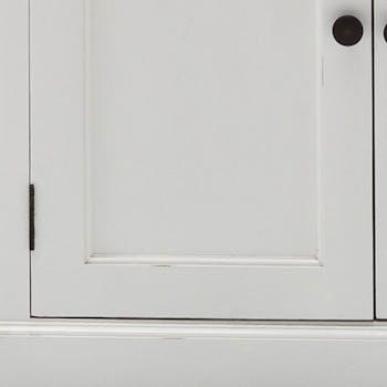 Buffet blanc moderne avec plateau noir 3 tiroirs 2 portes coulissantes acajou 125x85cm ROYAN