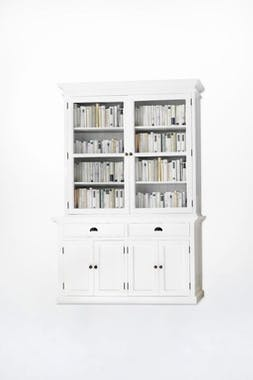 Buffet vaisselier blanc 6 portes 2 tiroirs  acajou 145x220cm ROYAN