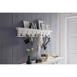 Etagère porte manteaux moderne bois blanc 8 patères acajou 130x20x10cm ROYAN