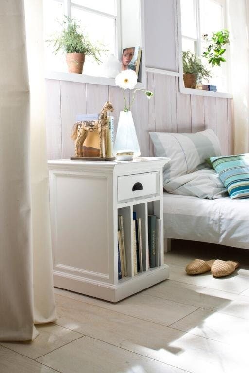 Table de chevet moderne bois blanc 3 cases 1 tiroir acajou 45x60cm ROYAN