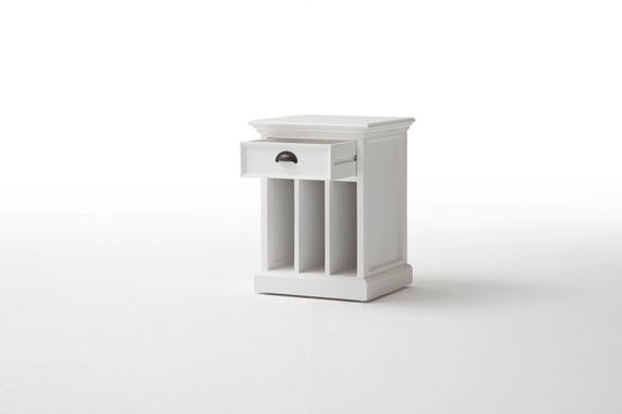 Table de chevet moderne bois blanc 3 cases 1 tiroir acajou 45x60cm ROYAN