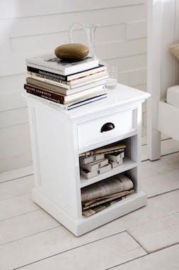 Table de chevet moderne bois blanc 2 étagères 1 tiroir acajou 60x45cm ROYAN