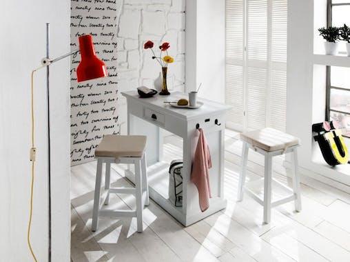 Meuble bar de cuisine blanc 1 tiroir 105x85cm et 2 tabourets avec coussins acajou ROYAN (le lot)
