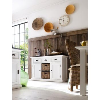 Buffet blanc moderne avec plateau noir 3 tiroirs 2 portes acajou 2 paniers rotin 125x85cm ROYAN