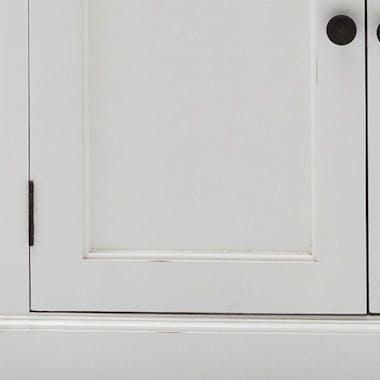 Meuble TV en bois blanc plateau noir 2 tiroirs 180x45cm acajou ROYAN