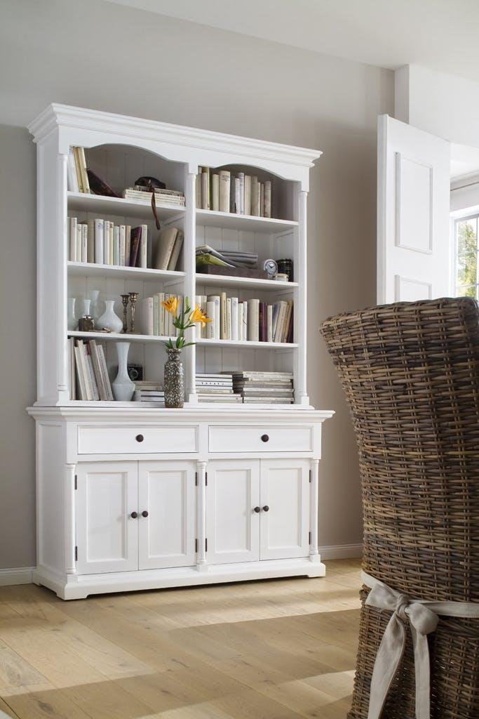 Meuble bibliothèque en bois blanc 2 tiroirs 4 portes acajou 145x220cm ROYAN