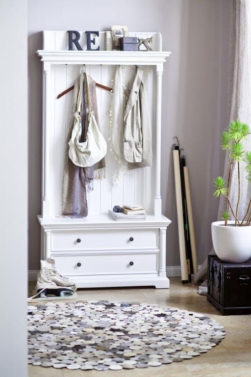 Meuble porte manteau moderne bois blanc 2 tiroirs 5 patères acajou 100x190cm ROYAN