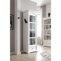 Etagère vitrine moderne en bois blanc acajou 70x190cm ROYAN