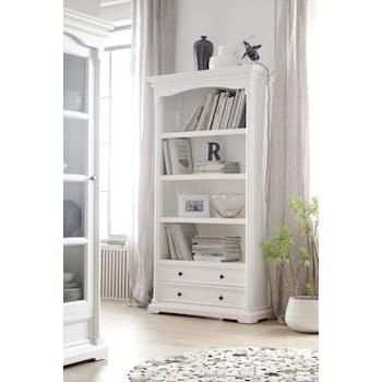 Bibliothèque étagère en bois blanc 2 tiroirs acajou 100x190cm ROYAN