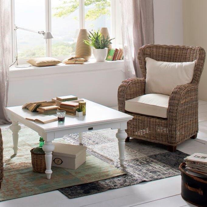 Table basse carrée en bois blanc acajou 100x100cm ROYAN