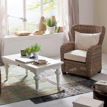 Table basse rectangulaire en bois blanc acajou 120x70cm ROYAN