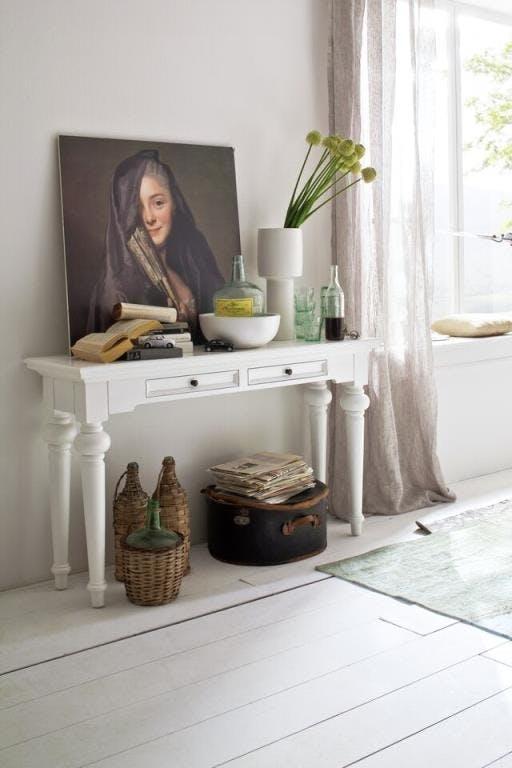 Console rectangulaire en bois blanc 2 tiroirs acajou 140x40cm ROYAN