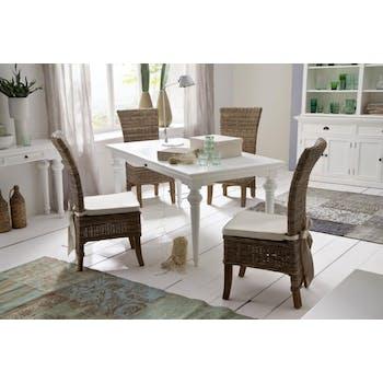 Table de repas rectangulaire en bois blanc acajou 180x90cm ROYAN
