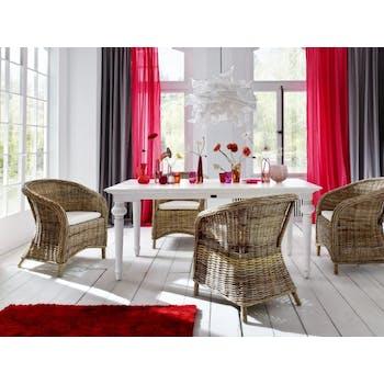 Table de repas rectangulaire en bois blanc acajou 200x100cm ROYAN