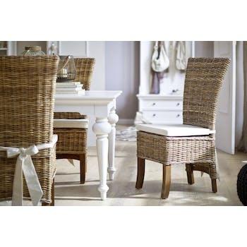 Chaise de salle à manger en rotin avec coussin 55x106cm ROYAN