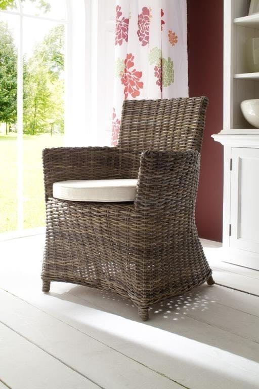 Fauteuil chaise de salle manger en rotin avec accoudoir et coussin 55x106cm royan - Chaise salle a manger avec accoudoir ...