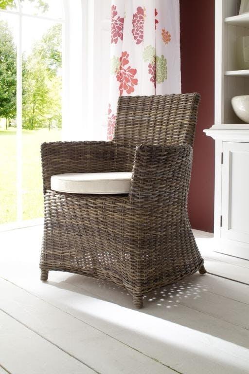 Fauteuil / Chaise de salle à manger en rotin avec accoudoir et coussin 55x106cm ROYAN