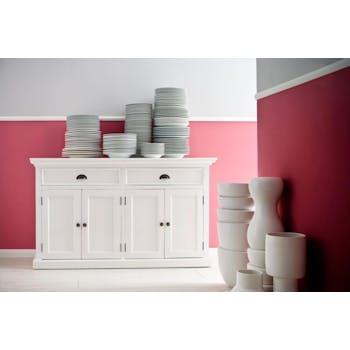 Bahut bas blanc 2 tiroirs 4 portes acajou 145x85cm ROYAN