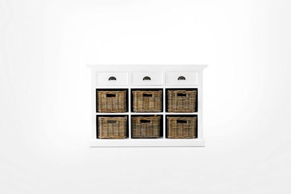 Commode bois blanc 3 tiroirs acajou 6 paniers rotin 125x85cm ROYAN