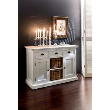 Buffet blanc moderne 3 tiroirs 2 portes acajou 2 paniers rotin 125x85cm ROYAN