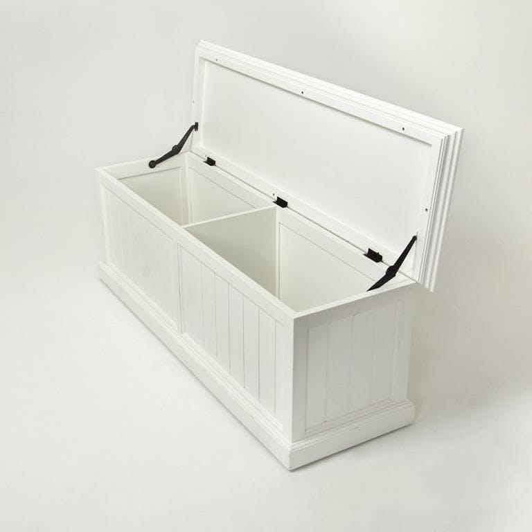 Banc coffre de rangement en bois blanc acajou 140x45cm ROYAN