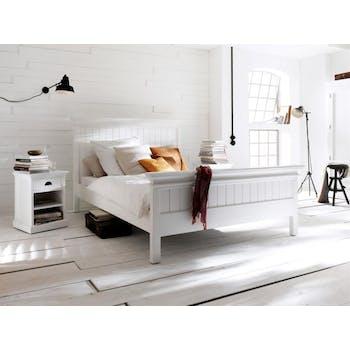 Lit 2 places bois blanc acajou 160x215cm ROYAN