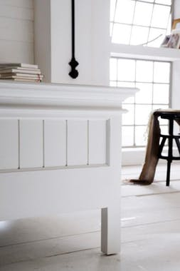 Lit king size bois blanc acajou 180x215cm ROYAN