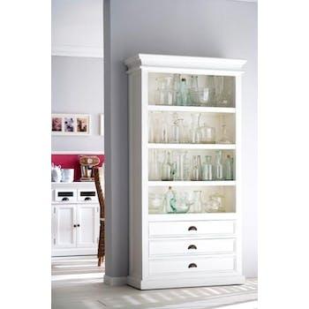 Bibliothèque bois blanc 3 tiroirs 4 étagères acajou 100x190cm ROYAN