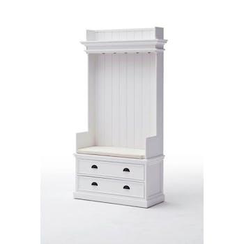 Meuble à chaussures - porte manteau bois blanc 2 tiroirs acajou 100x190cm ROYAN