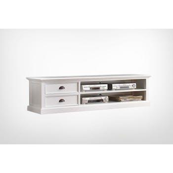 Meuble TV en bois blanc 2 tiroirs acajou 180x45cm ROYAN