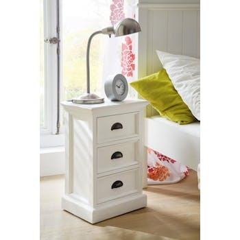 Table de chevet bois blanc 3 tiroirs acajou 40x60cm ROYAN